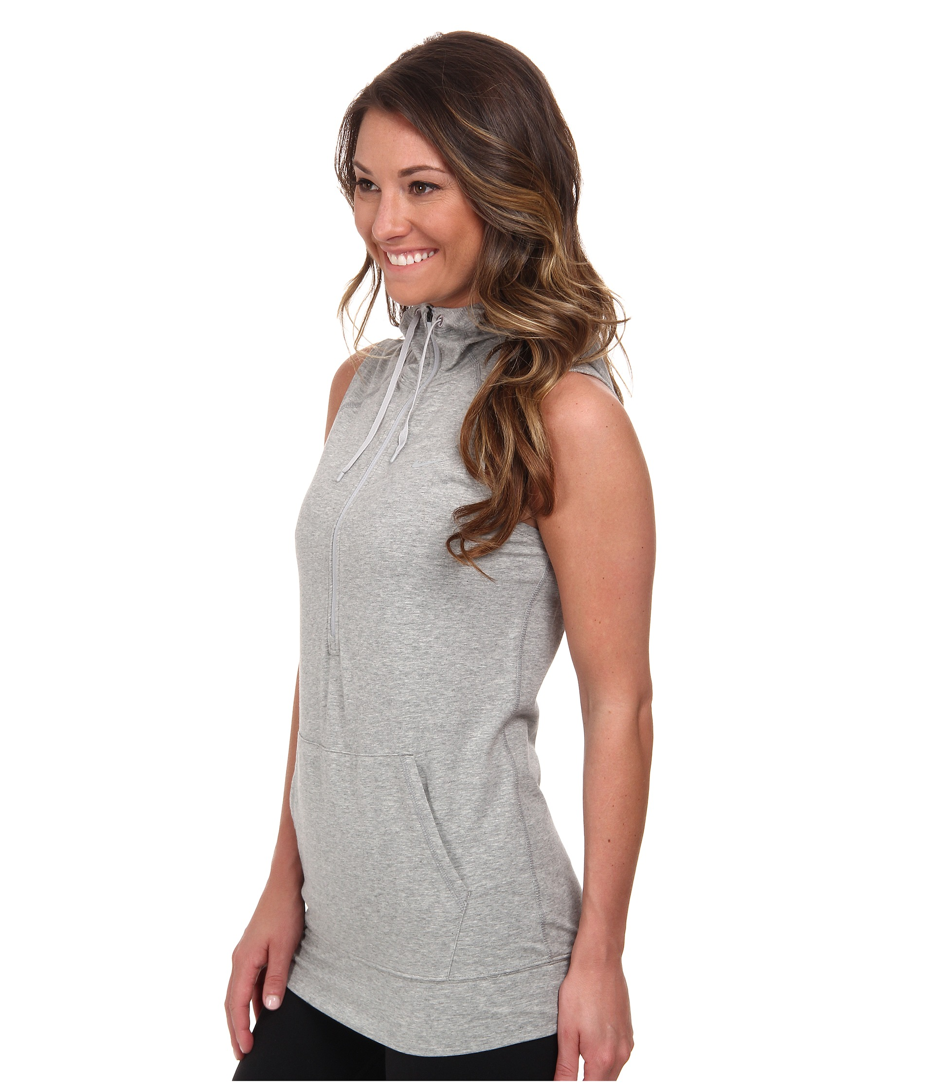 Nike Sleeveless Obsessed Half-Zip Hoodie Dark Grey Heather/Silver ...