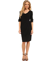 Christin Michaels - Faux Wrap 3/4 Sleeve Dress