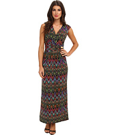 Ellen Tracy - Printed Maxi Surplice Dress