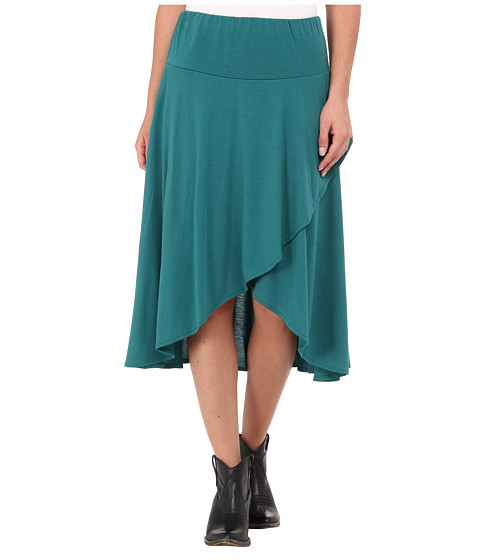 Roper Poly Rayon Jersey Faux Wrap Skirt w/ Hi-Lo Hem (Green) Women's Skirt