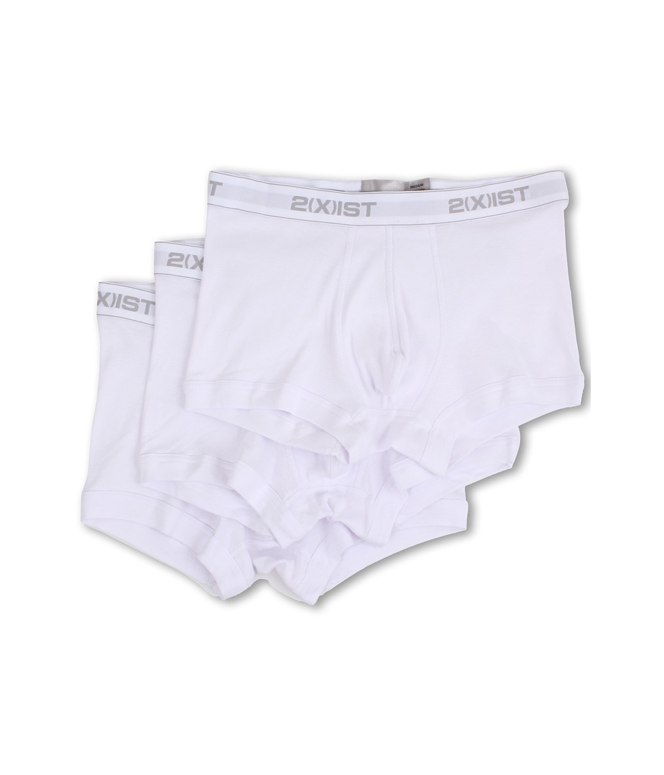 2XIST 3 Pack ESSENTIAL No Show Trunk White Mens Underwear