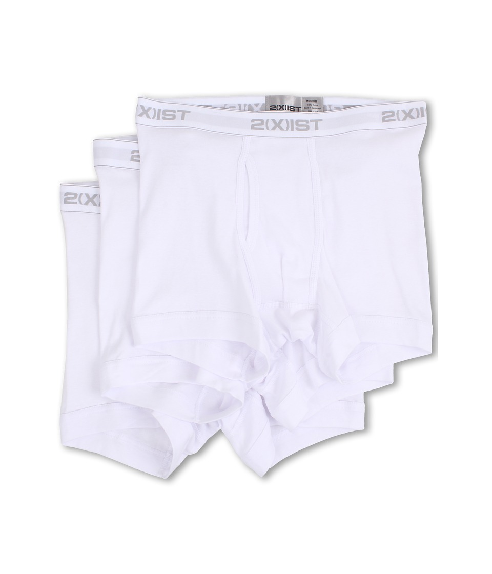 2XIST 3 Pack ESSENTIAL Boxer Briefs White Mens Underwear