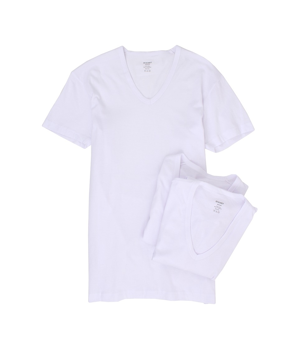2XIST 3 Pack ESSENTIAL Slim Fit V Neck T Shirt White Mens T Shirt