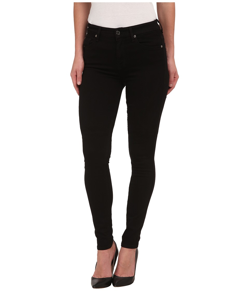 7 For All Mankind - The Highwaist Skinny w/ Contour Waistband in Slim Illusion Luxe Black (Slim Illusion Luxe Black) Womens Clothing