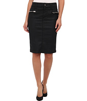 7 For All Mankind - Luxe Jeather Fashion High Waist Pencil Skirt w/ Zips in Black Jeather