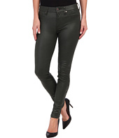 7 For All Mankind - Crackle Leather-Like Knee Seam Skinny w/ Contour Waistband in Forest Green Crackle