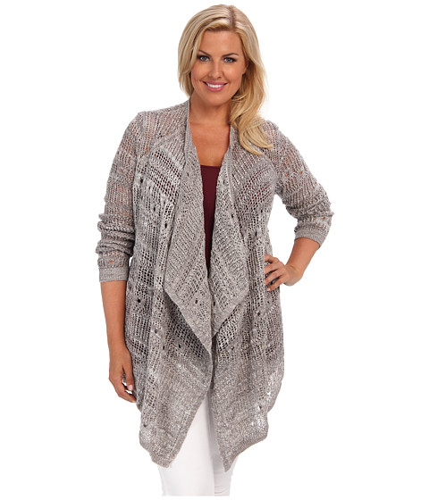 DKNY Jeans Plus Size Open Stitch Cardigan (Zinc) Women's Sweater