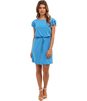 Jessica Simpson - Dress w/ Elastic Waistband w/ Self Tie and Buttoned Flared Tiered Short Sleeves