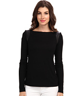 Nicole Miller - Leather Trim Ribbed L/S Top