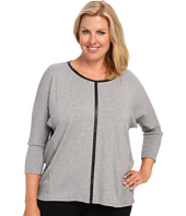 TWO by Vince Camuto - Plus Size Jersey Saturday Shirt w/ Pleather Trim