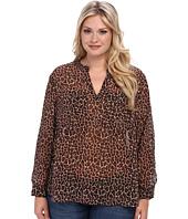 TWO by Vince Camuto - Plus Size Iconic Leopard L/S Split Neck Tunic