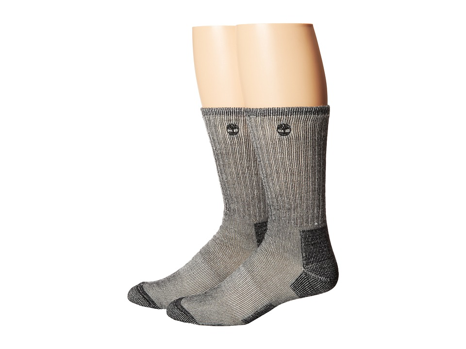Timberland - TM31042 Heavyweight Wool Hiker Crew 2-Pair Pack (Black) Men's Crew Cut Socks Shoes