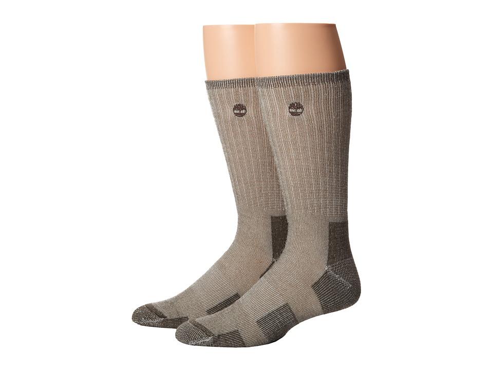 Timberland - TM31042 Heavyweight Wool Hiker Crew 2-Pair Pack (Bark) Men's Crew Cut Socks Shoes