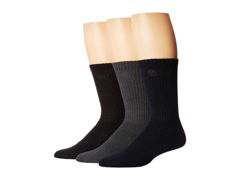 Timberland - TM30415 Casual Crew 3-Pair Pack (Grey/Navy/Black) Men's Crew Cut Socks Shoes