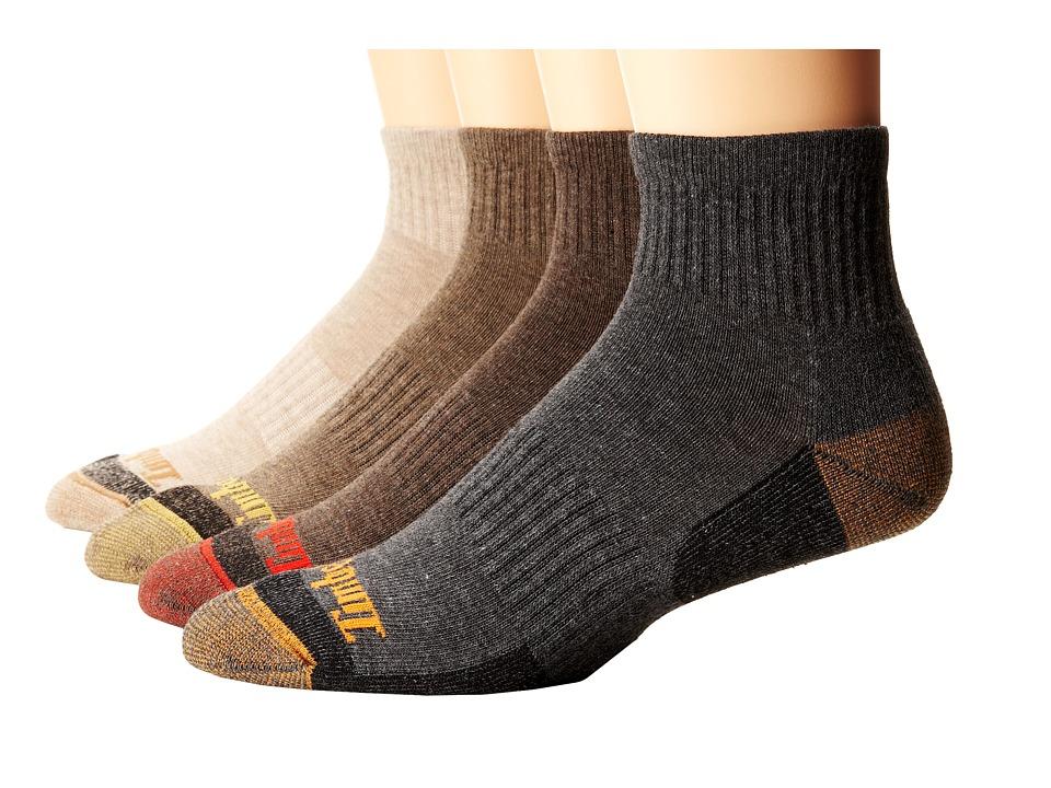 Timberland - TM31381 Comfort Quarter 4-Pair Pack (Grey/Brown/Bark/Dune) Men's Quarter Length Socks Shoes