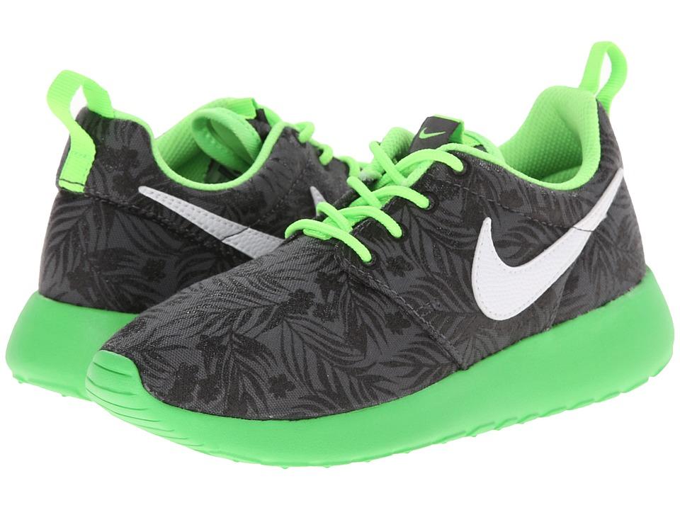 Image of Nike Kids Roshe Run Print (Little Kid/Big Kid) (Dark Grey/Light Green/Black/White) Boys Shoes