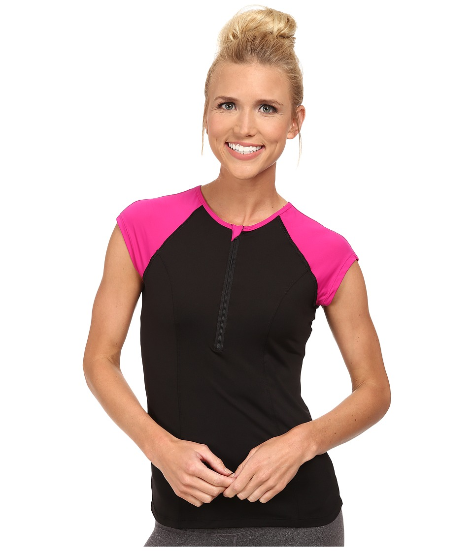 Spanx Active Capped Sleeve Top Black/Pink Pow Womens Workout