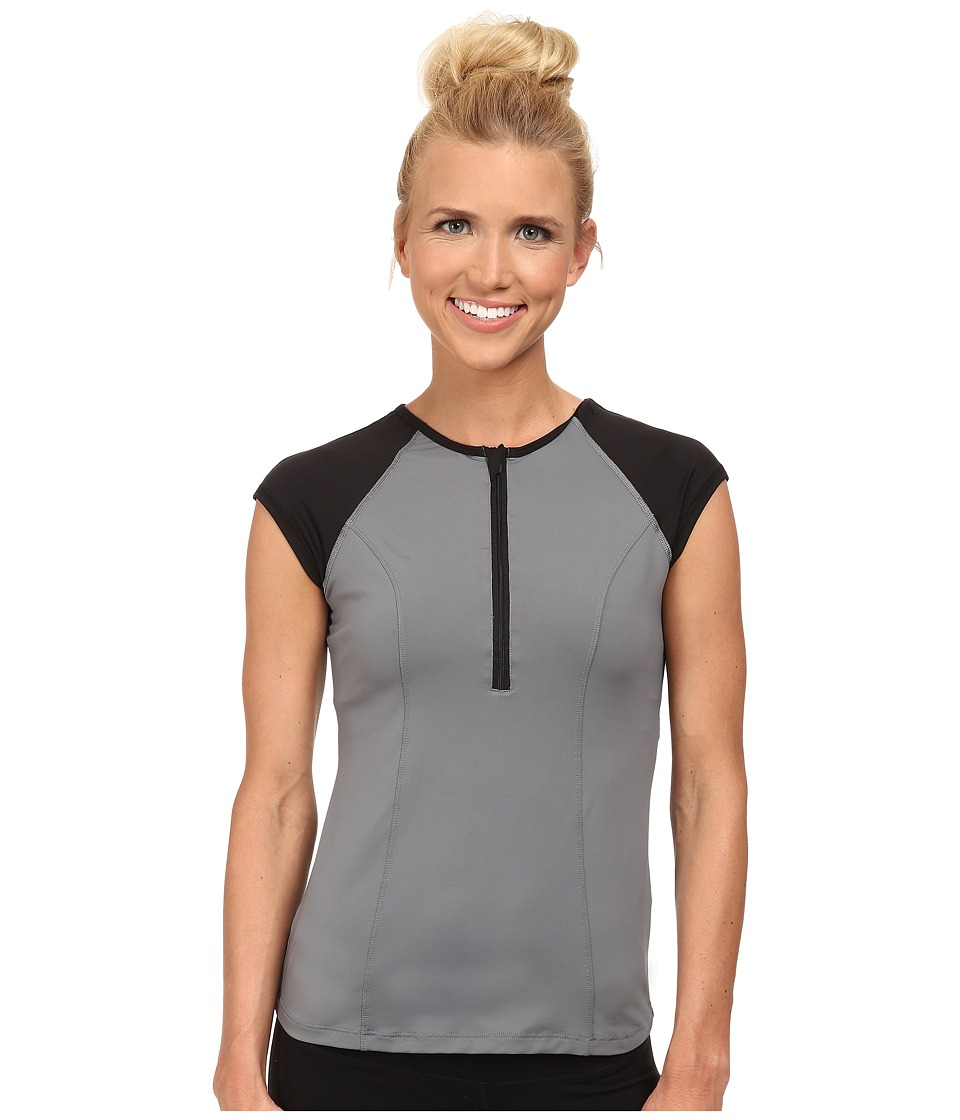 Spanx Active Capped Sleeve Top Cool Gray/Black Womens Workout