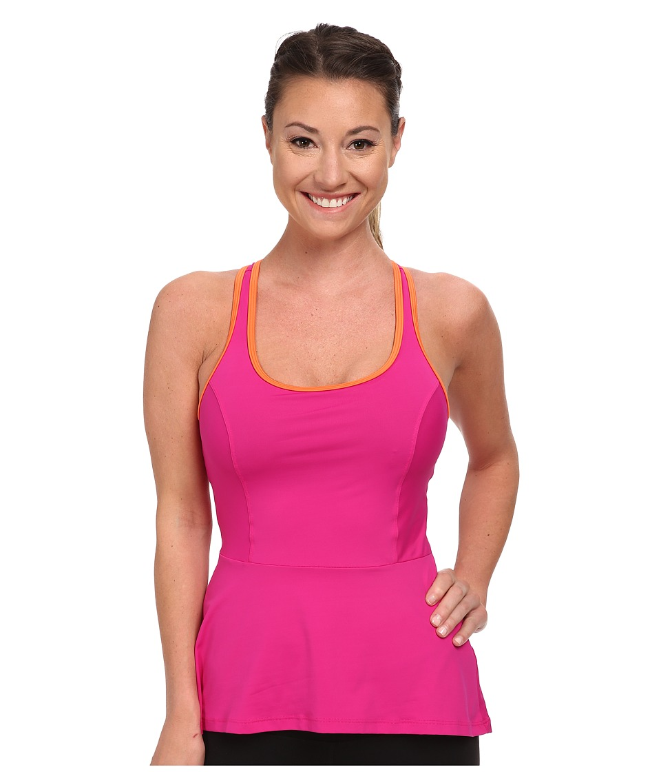 Spanx Active Peplum Tank Pink Pow Womens Sleeveless