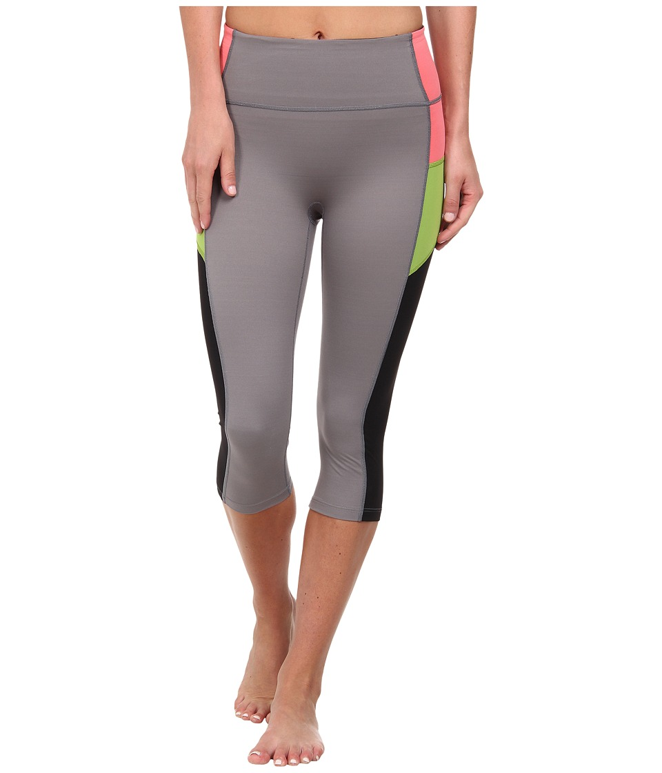 Spanx Active Compression Knee Pant Color Block Cool Gray/Black Womens Workout