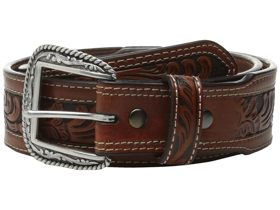 Ariat - Tapered Embossed Inlay Belt (Tan) Mens Belts