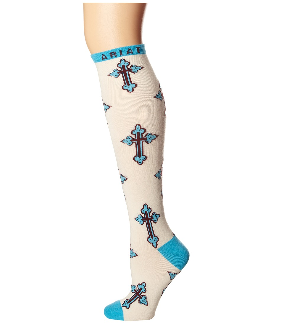 Ariat - Crosses Knee High Socks (Cream/Turqiouse) Women