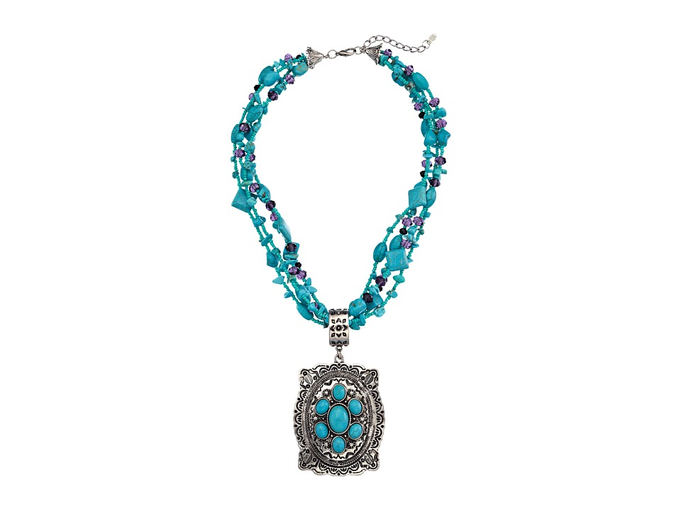 M&F Western - Turquoise Bead Oval Concho Necklace/Earring Set (Turquoise/Silver) Jewelry Sets