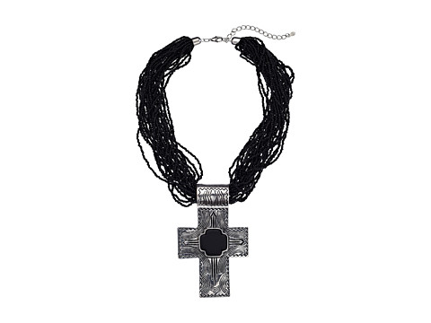 M&F Western Multi Beaded Strand Cross Necklace/Earring Set - Black