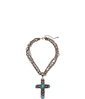 M&F Western - Multi Chain Antiqued Turquoise Cross Necklace/Earring Set