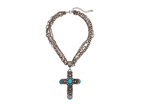 M&F Western Multi Chain Antiqued Turquoise Cross Necklace/Earring Set