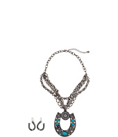 M&F Western - Multi Strand Chain Horseshoe Necklace/Earring Set