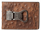 M&F Western Bi-Fold Metal Clip Wallet (Brown Ostrich)