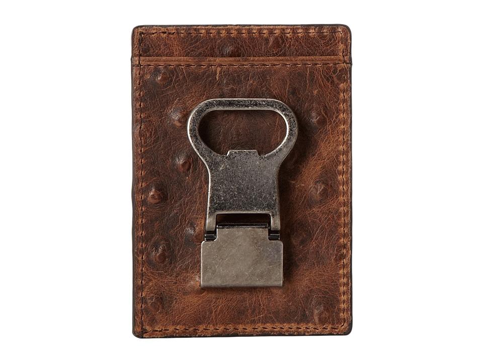 M&F Western - Front Pocket Metal Clip Wallet (Brown Ostrich) Wallet Handbags