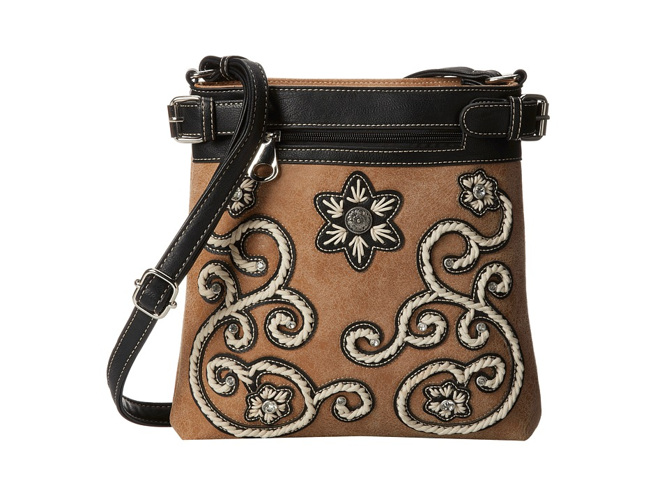 MampF Western Floral Stitch Crossbody Natural Cross Body Handbags