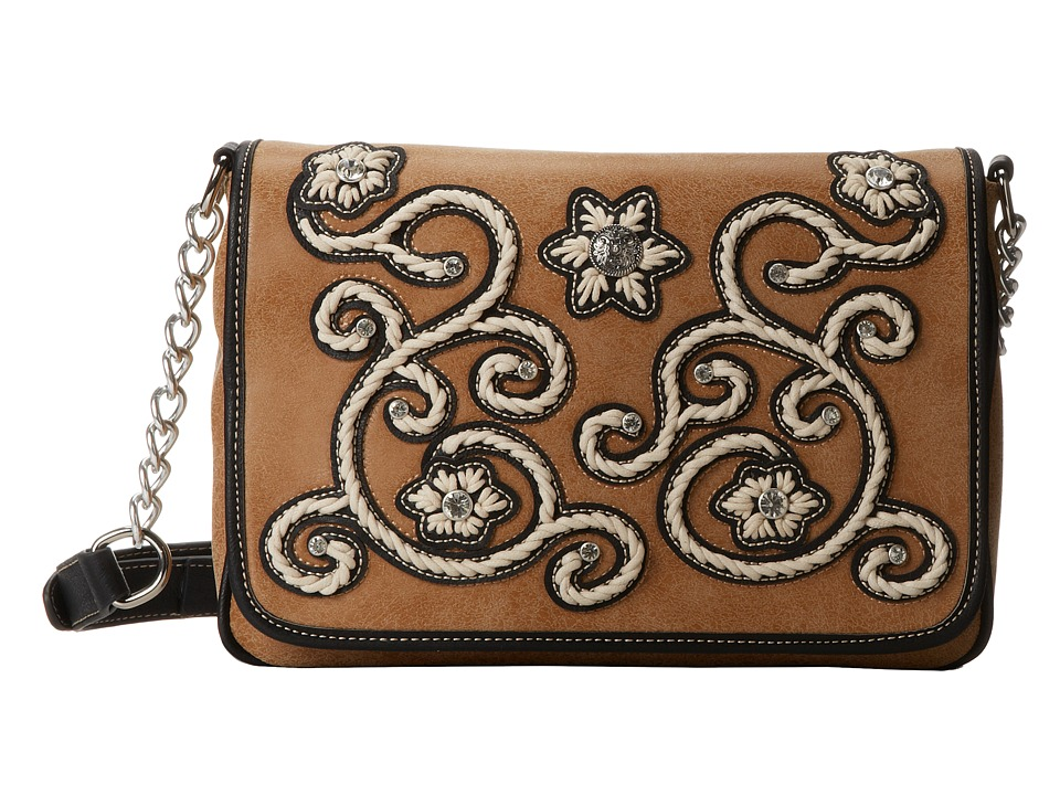 M&F Western - Floral Stitch Medium Flap Shoulder Bag (Natural) Shoulder Handbags
