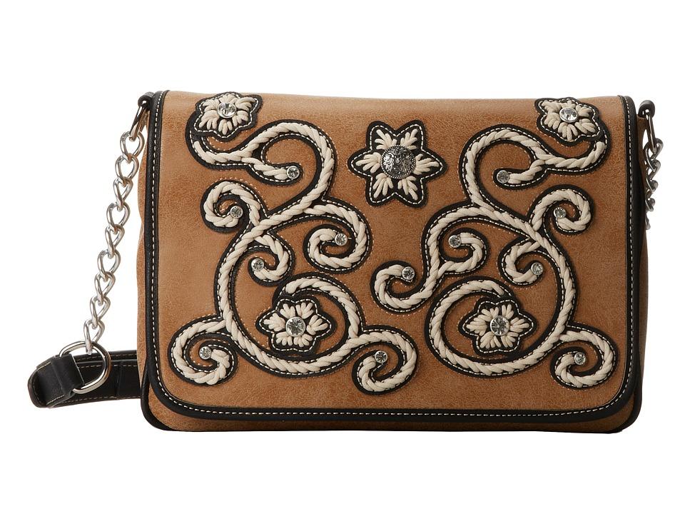 MampF Western Floral Stitch Medium Flap Shoulder Bag Natural Shoulder Handbags