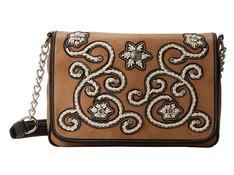 M&F Western Floral Stitch Medium Flap Shoulder Bag - Natural