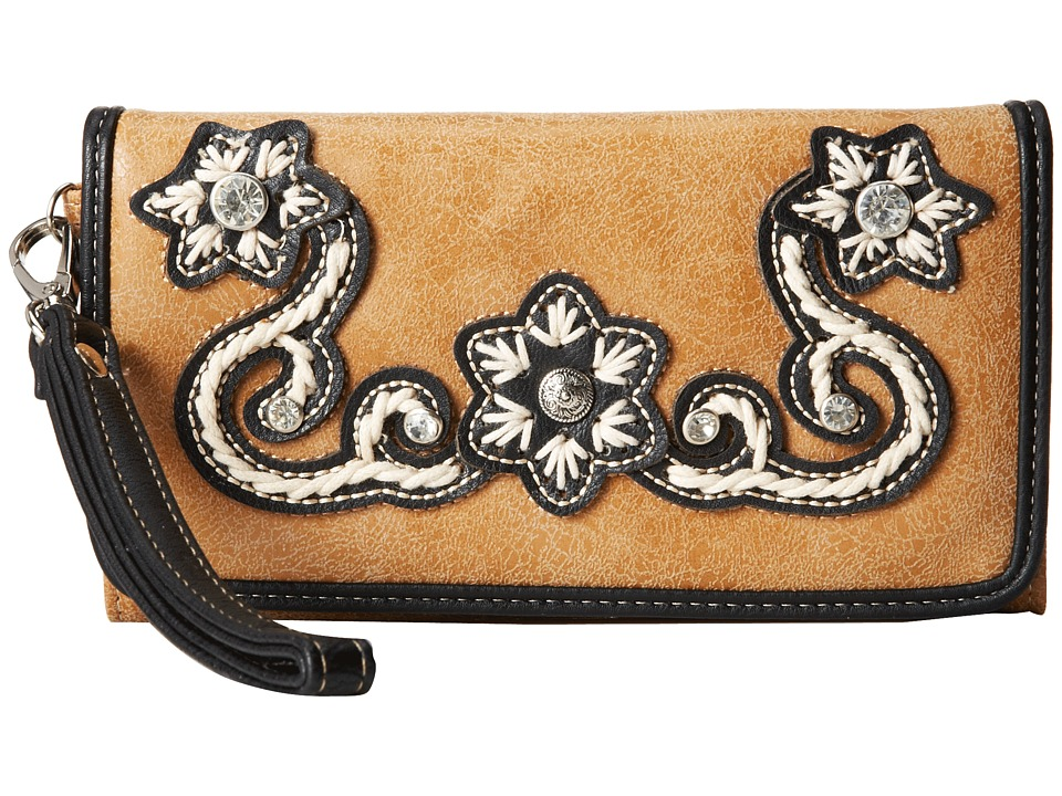 MampF Western Floral Stitch Wristlet Wallet Natural Wallet Handbags