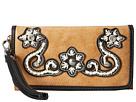 M&F Western Floral Stitch Wristlet Wallet (Natural)