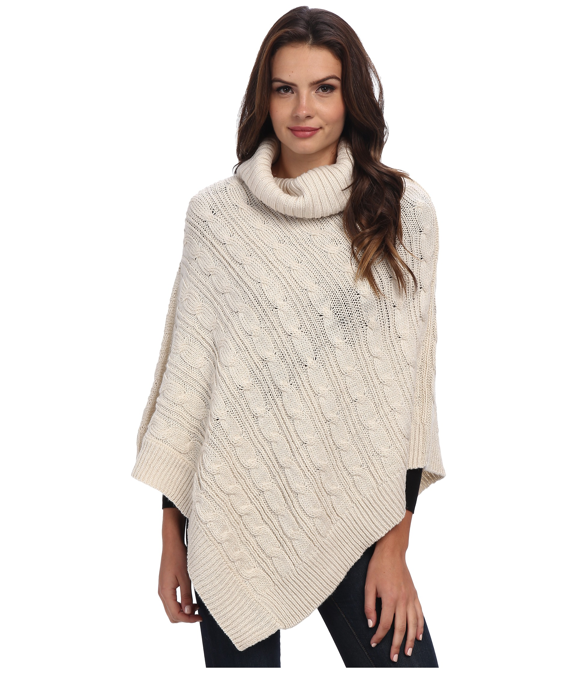 Knitting Pattern For Poncho With Cowl Neck : Steve Madden Lurex Cable Knit Cowl-Neck Poncho Cream - Zappos.com Free Shippi...