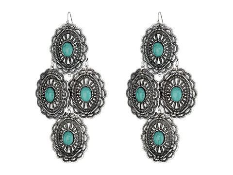 M&F Western Oval Turquoise Concho Chandelier Earrings - Silver/Turquoise