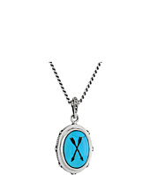 King Baby Studio - Oval Bezel Pendant Necklace w/ Etched Arrows on Turquoise Stone