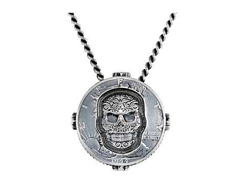 King Baby Studio Liberty Half Dollar Pendant Necklace w/ Carved Baroque Skull - Silver