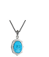 King Baby Studio - Oval Bezel Pendant Necklace w/ Carved Turquoise Skull