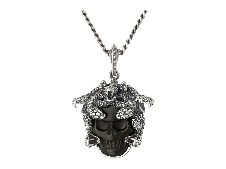 King Baby Studio Small Medusa Pendant Necklace w/ Carved Jet Skull Black Necklace