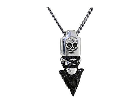 King Baby Studio Skull Arrowhead Pendant Necklace w/ Jet Point