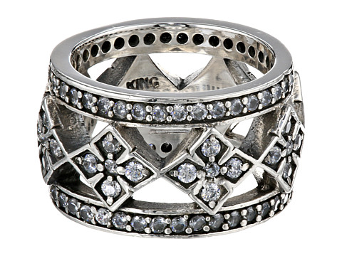 King Baby Studio Wide Band Ring w/ MB Cross and CZ - Silver