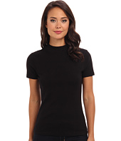 Three Dots - S/S Mock Neck Fitted Top