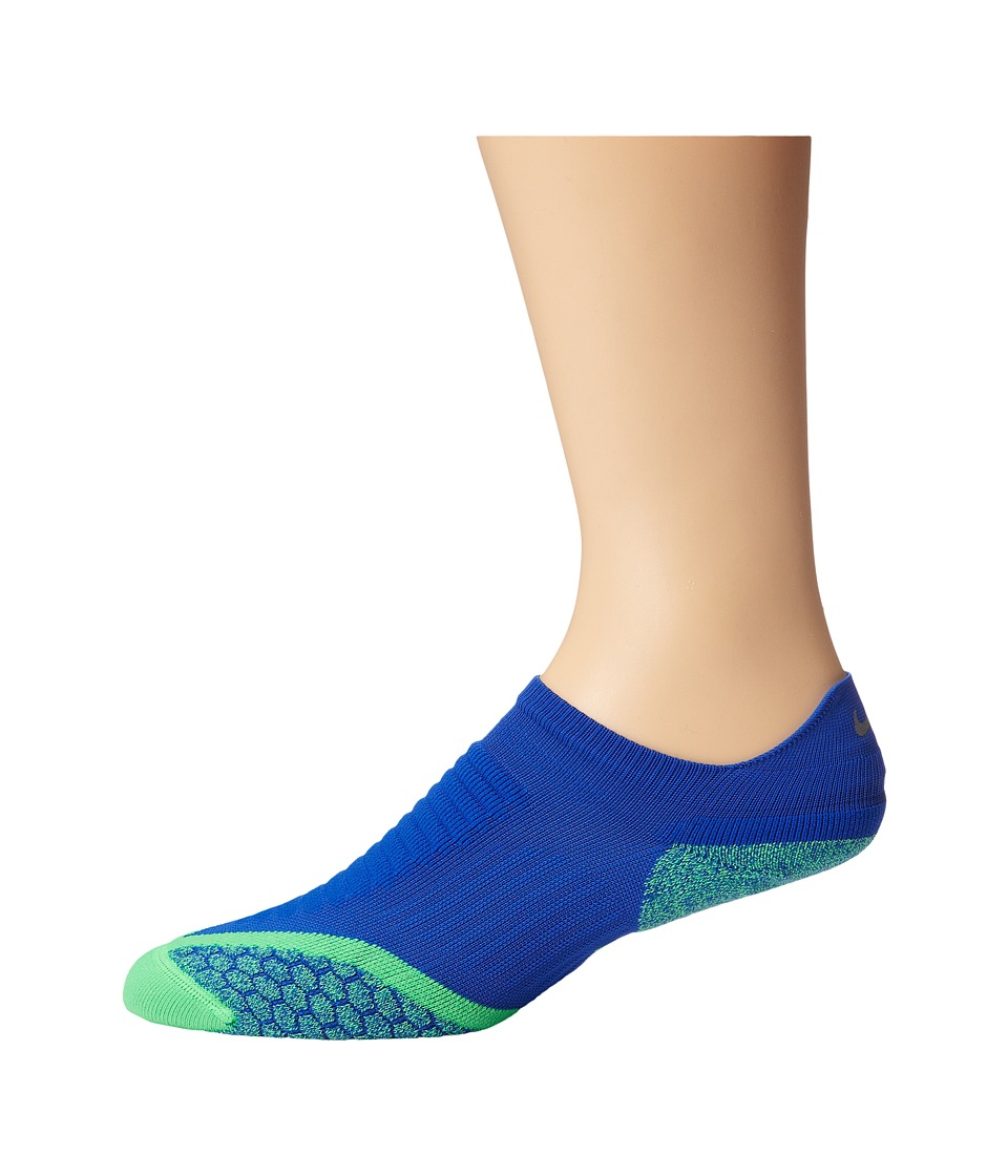 Nike Elite Running Cushion No Show Tab 1 Pair Pack Lyon Blue/Poison Green/Poison Green No Show Socks Shoes