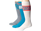 Nike Dri-FIT Crew Sock 3-Pair Pack (Blue Lagoon/Dove Grey/White/White/Bright Crimson)